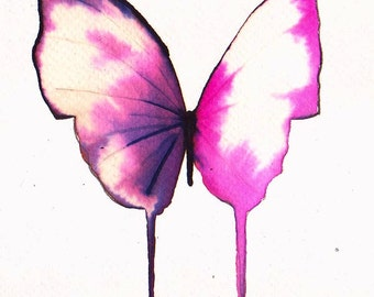 bright pink white and black butterfly original watercolour painting 7 x 5""