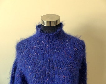 Vintage Fuzzy Mohair Furry Sweater Slouchy Oversized Tunic Flecked Funnel Turtleneck Lurex Pockets Cozy Warm / LIMITED brand Boho Chic / M L