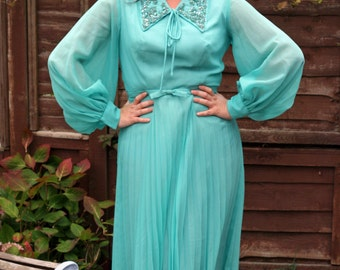 Vintage 80s teal dress embellished collar pleats UK 14 16 US 10 12