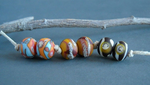 v i v i d wilderness series - glass lampwork etched earring pair beads - vivid, southwest colors - rustic beads by Uglibeads