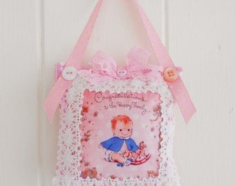SALE  Vintage style Welcome baby door hanger