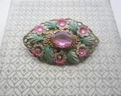Vintage Floral Enamel and Filigree Brooch