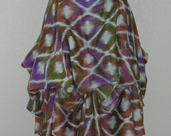 Delicious Shades of lavender, Olive & Curry Hand Dyed Ikat Pattern Is The Perfect Festival Skirt!