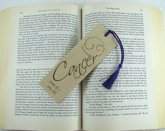 Zodiac Cancer Wood Bookmark - Horoscope Bookmark - Pyrography - BKInspired
