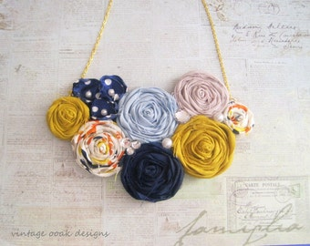 Nautical Gold & Navy Statement Necklace, Rosette Statement Necklace, Gold and Navy Necklace, Rolled Rosette Bib Necklace, Summer Fashion