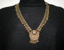 Vintage Brass Indian Gypsy Belly Dancing Bell Tingle Necklace Small Waist Adorrnment BEAUTIFUL Adjustable Chain