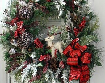 Front Door Wreath After Christmas Decoration Winter Wreath White Sisal Deer Pine Cone Rustic Country Cabin Flocked Pine Berries Grapevine