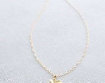 Lucky Clover Necklace, Small Gold Clover Necklace, Silver Shamrock Necklace, Lucky 4 Leaf Clover, Dainty Layering Necklace, Olive Yew - 1127