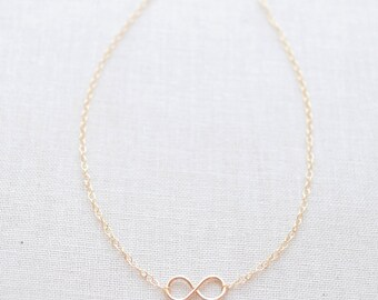 Tiny Handmade Infinity Necklace - gold, silver, rose gold - 1223