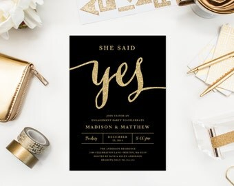 She Said Yes in Black Engagement Party Invitation