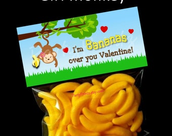 INSTANT DOWNLOAD - Printable Treat Bag Toppers  -Bananas over you  Valentine