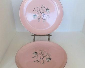 "Vintage Pink Taylor-Smith-Taylor Dwarf Pines Plates (2) 8"" 50's (item 1)"
