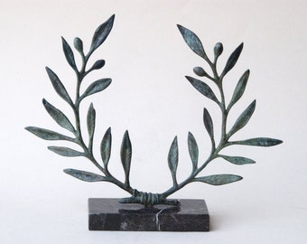 Olive Wreath Bronze Sculpture, Metal Art, Greek Museum Quality Art, Olive Tree, Goddess Athena Symbol, Ancient Greece,Most Popular Item