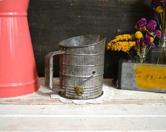 Vintage Metal Flour Sifter with Small Green Handle Rustic Primitive