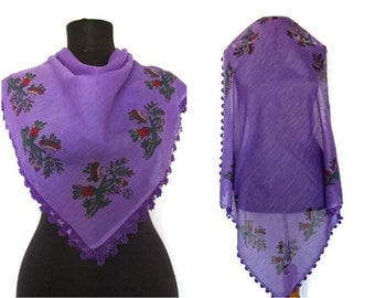 Purple Grandmother SHAWL, Red -Green Floral Cotton Scarf,Bridal Scarf,Authentic, Romantic, Fashion, 1985s Vintage Scarf
