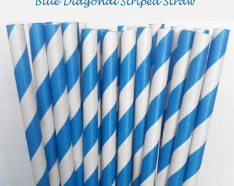 Blue Striped Paper Straws (S11) with free printable DIY Toppers - Pack of 25 or 50 Straws