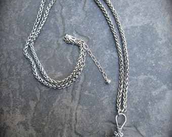 "Extra Long Filigree necklace with puffed silver ball pendant  31""  with 3"" extender Foxtail Chain Plus Size necklace"