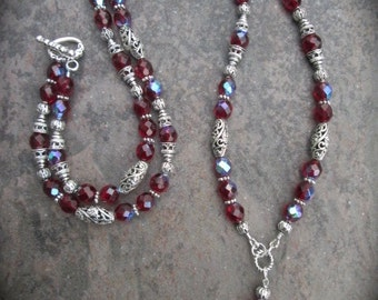 Extra Long Red Beaded necklace featuring Czech glass beads  Rosary Style necklace Plus size necklace Christmas necklace