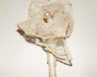 Antique Lace Wedding Boutinnere /Men's Boutineer/ Buttonhole / Bout /Swarovski Crystal