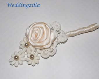 Men's Ivory Wedding Boutineer/  Antique Venise Lace Wedding Boutinnere / Buttonhole / Bout