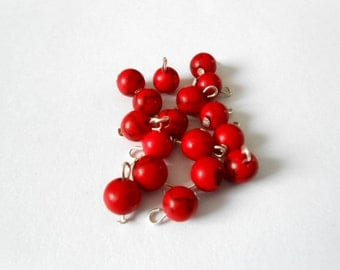Red Turquoise Dangle Beads