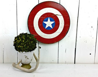 3 SIZES - Captain America Shield sign - Distressed wood sign