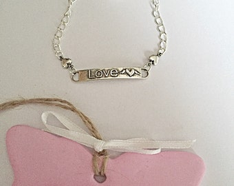 Love Bracelet - Silver Plated - Toggle Clasp Bracelet - Love Jewelry - Gift For Her - SALE