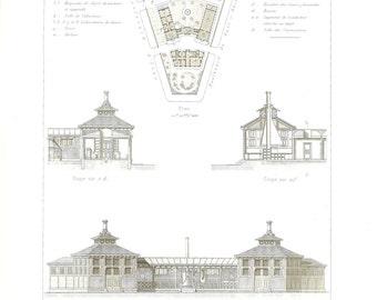 1873 Architectural Print, Floor Plan, Elevation, Section, Dépôt des Ponts-et-Chaussées, Paris, Antique Steel Engraving