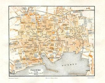 Palermo Italy Vintage City Plan, 1920s Street Map