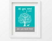 Jack Russell Terrier Art Print, Jack Russell Silhouette, All You Need Is Love And A Jack Russell Terrier, Tree, Modern Wall Decor, gift