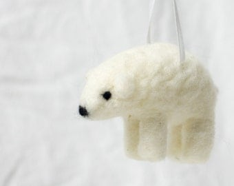 Needle Felted Wool Polar Bear Ornament