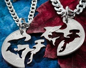 Shark Necklaces, Hammerhead and Shark Interlocking jewelry, Hand cut coin