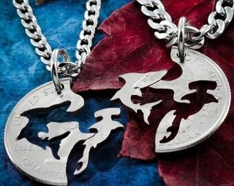 Shark Necklaces, Hammerhead and Shark Interlocking jewelry, Hand cut coin