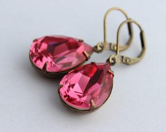 Swarovski Rose earrings, pink earrings, Swarovski earrings, bridal earrings, bridesmaid earrings, pink earrings, pink wedding, spring PS05