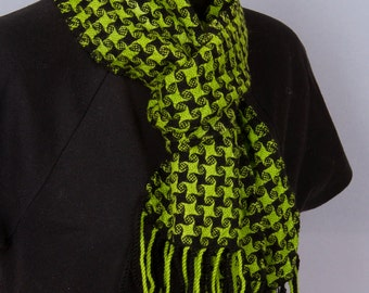 Wool green and black handwoven scarf
