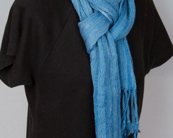 Hand dyed and handwoven teal scarf in silk and merino wool