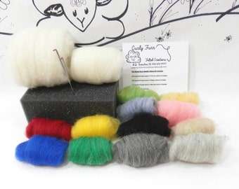 Needle felting kit / Wooly Buns roving assortment / felting needles / felting foam / core wool / beginners kit / DIY wool felting kit