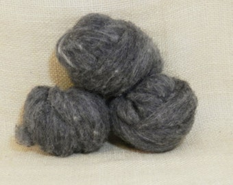Needle felting wool batting in Charcoal, wool batting, felting supplies, fleece roving batting in Charcoal, gray wool, wool for spinning,