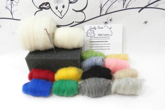 Needle felting kit / Wooly Buns roving assortment / felting needles / felting foam / core wool / beginners kit / DIY wool felting kit