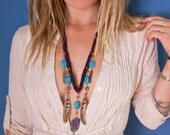 Turquoise and feather leather statement necklace with pyrite stones, rainbow quartz crystals, and amethyst geode - cruelty free feathers