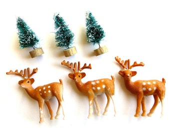 Miniature Polka Dot Plastic Deer-Lot of 3-Tiny Forest Deer w/ Antlers-Christmas Terrariums, Holiday Ornaments-Putz Village-Retro Snow Globe