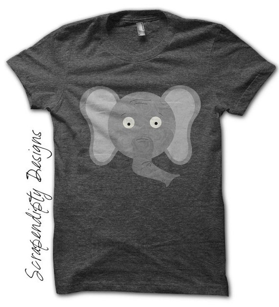 Elephant Iron on Printable - Animal Iron on Transfer / Womens Elephant Shirt / Elephant Print Art / Cute Kid Clothes / Digital Image IT117-R