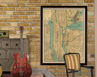Map of  Manhattan  - Old map of Manhattan New York - Manhattan map archival print
