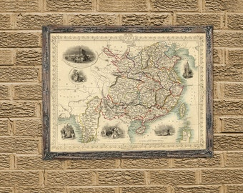 Old map of China - Restored map - China map fine print