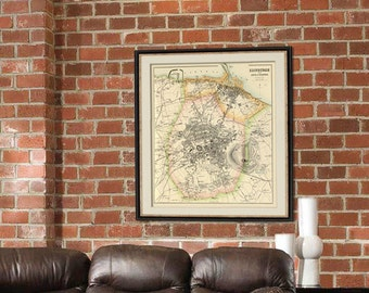 Edinburgh map - Old city map print -  Old map restored - Giclee fine print