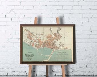 Alicante map - Old map of Alicante print - Fine print
