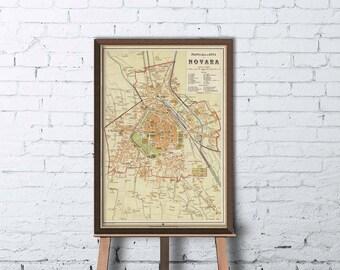 Old map of Novara, Italy -  Novara map fine reproduction
