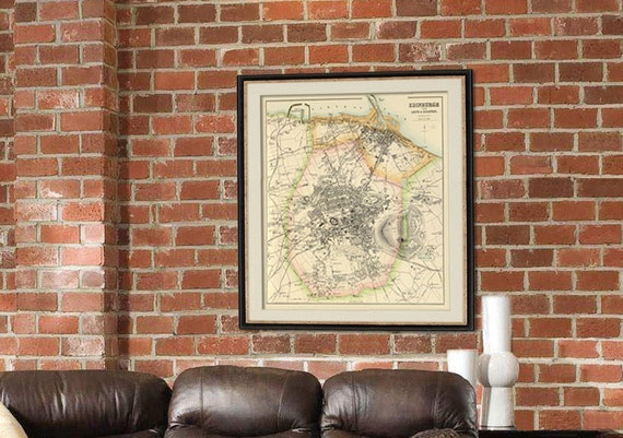 Edinburgh map - Old city map print -  Old map restored - Giclee fine print
