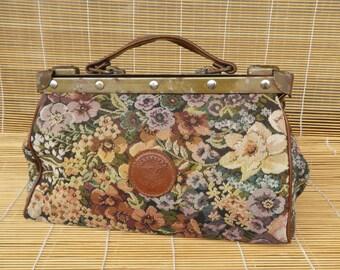 Vintage Lady's Colourful Textile Metal Hardware Hand Bag Purse Doctor's Bag