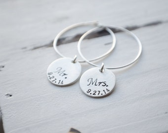Mr. & Mrs. Wine Charms - Bridal Shower Gift | Matching Wine Glass Tag Set | Wedding Date | Sterling Silver | Gifts for the Bride